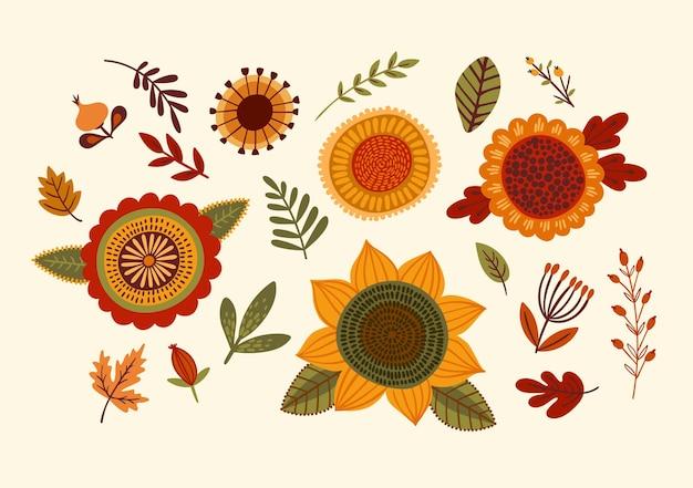 Set of floral design elements. vector illustration.