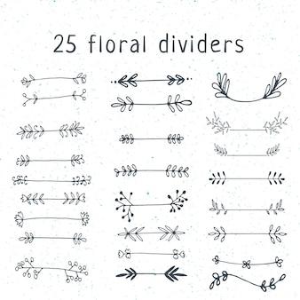 Set of floral doodle dividers