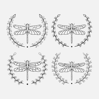 Set of floral dragonfly illustration