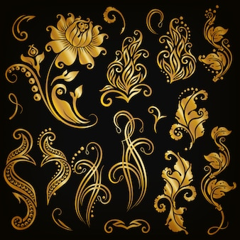 Set of floral elements for ornamentation
