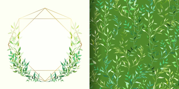 Set of floral frame and green watercolor floral seamless patterns