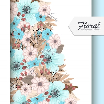 Set of floral frame with colorful flower.