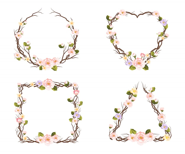 Set of floral frames for decoration