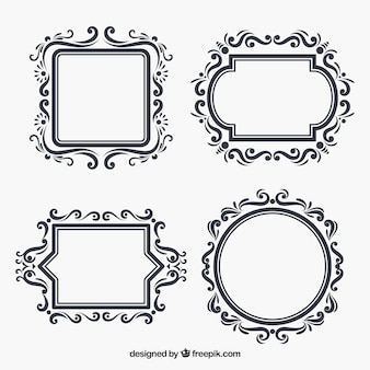 Set of floral frames in flat style
