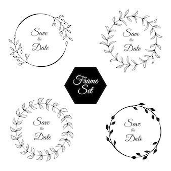 Set of floral frames. rustic leaves and flowers. hand drawn line art. save the date.