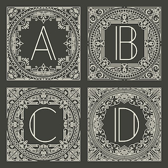 Set of floral and geometric monogram logos with capital letter on dark gray background.