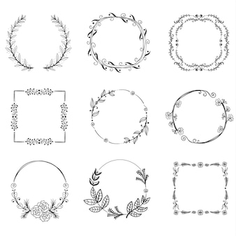 Set of floral handdrawn frames, icons in doodle style on white background