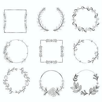 Set of floral handdrawn frames, icons in doodle style on white