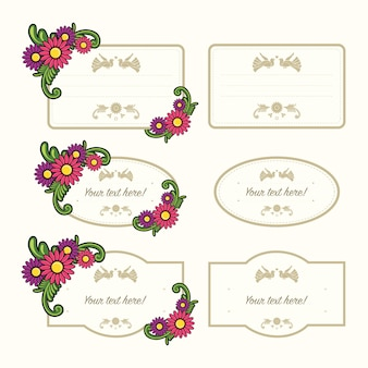 Set of floral label template isolated on white