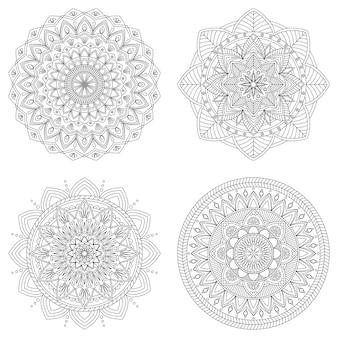 Set of floral mandals, vector illustration