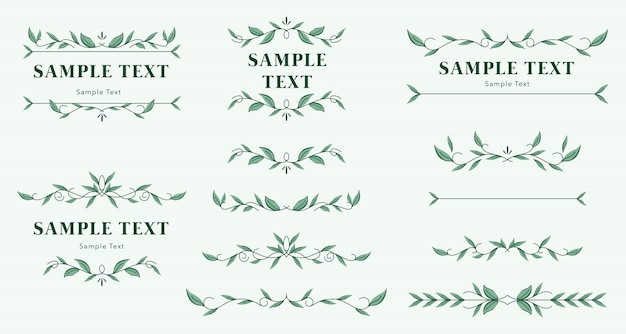 Set of floral ornament templates