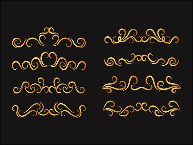 Set of floral ornaments calligraphic dividers in golden colors