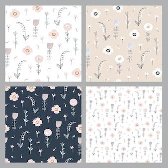 花と葉で花柄を設定します。小さな花とかわいいパターン。