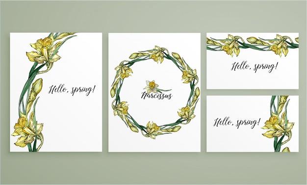 Set floral romantic templates