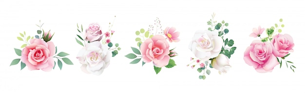 Set of floral roses bouquets for wedding invite or greeting card.