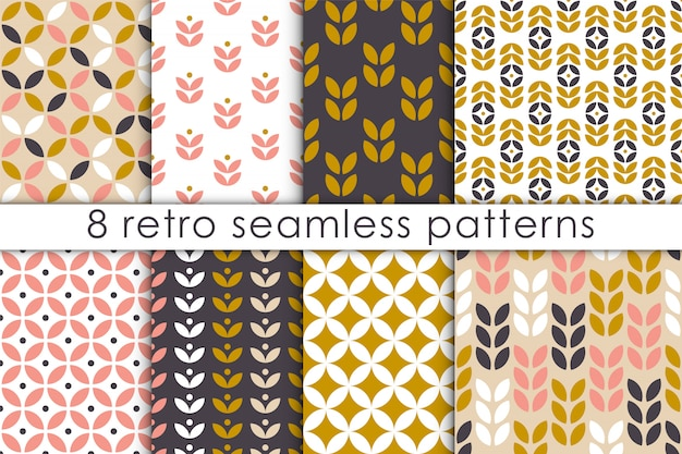 Set of floral seamless pattern in scandinavian style.