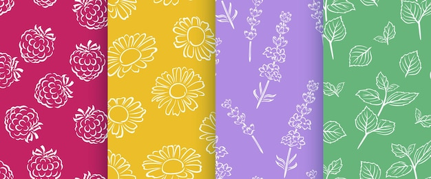 Set of floral seamless patterns.