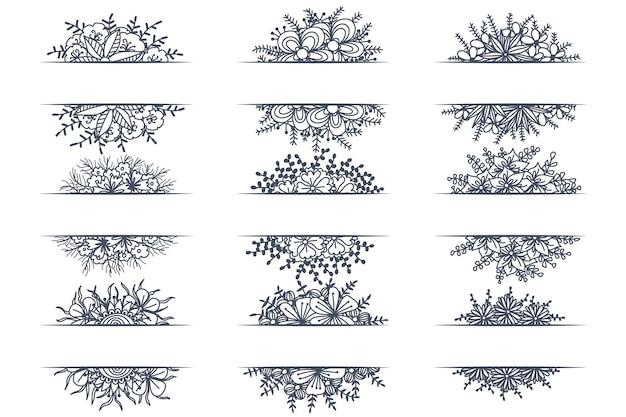 Set of floral vintage decorative ornament borders and corner dividers