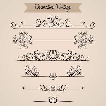 Set floral vintage ornamental filigree