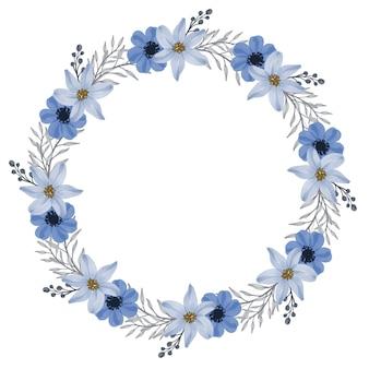 サークルフレームに青とグレーの花の水彩画を設定します