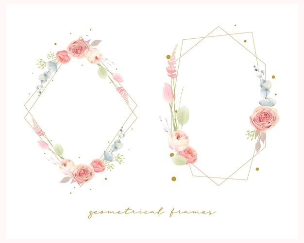 Set of floral watercolor wedding frames