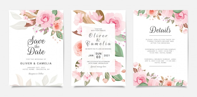 Set of floral wedding invitation card template with peach and pink roses flowers