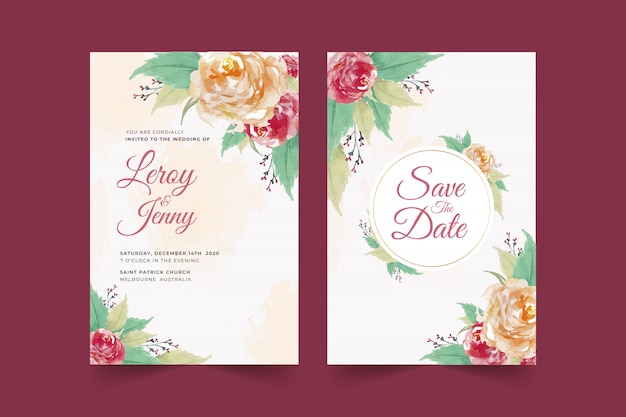 Set of floral wedding invitation card template with rose flower and leaves premium vector