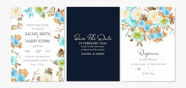 Set di biglietti d'invito per matrimonio floreale con fogliame autunnale