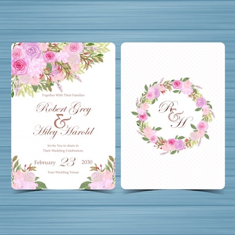 Set of floral wedding invitation card with beautiful pink flowers