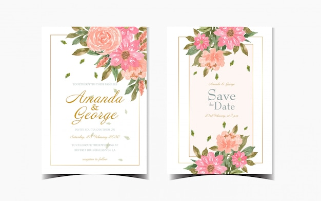 Set of floral wedding invitation card with beautiful red daisy