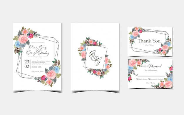 Set of floral wedding invitation card with gorgeous colorful flowers