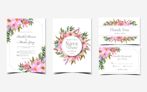 Set of floral wedding invitation card with red daisy