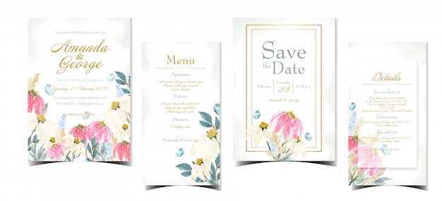 Set of floral wedding invitation card with white and red daisy