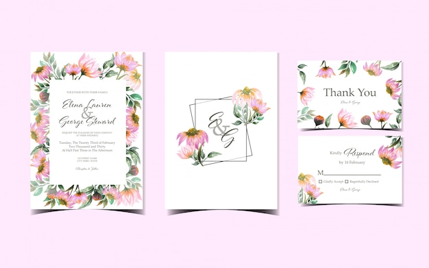 Set of floral wedding invitation collection with gorgeous pink daisy