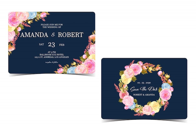 Set of floral wedding invitation with save the date card