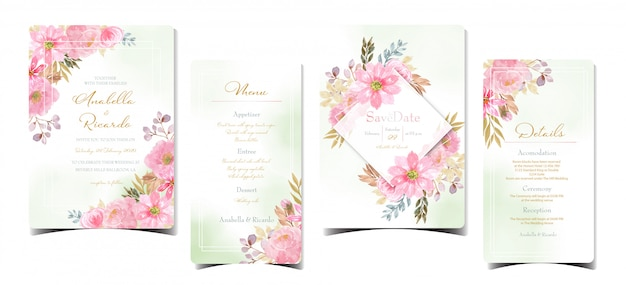 Set of floral wedding invitation with watercolor pink flowers