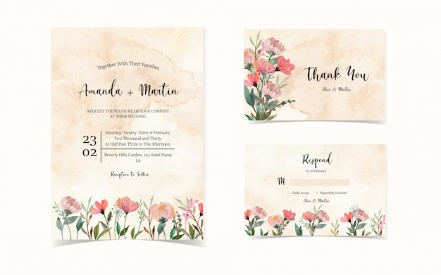 Set of floral wedding invitation with wild flowers
