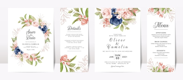 Set of floral wedding invitation