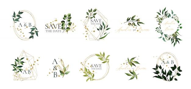 Set of floral wedding logos and monogram with elegant green leaves golden geometric triangular frame for invitation save the date card design. botanical vector illustration