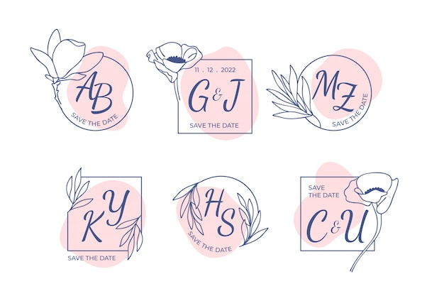 Set of floral wedding logos and monogram with elegant leaves for invitation save the date card design. botanical  illustration