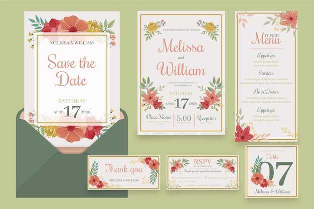 Set of floral wedding stationery