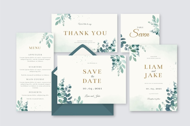 Set of floral wedding stationery