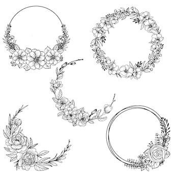 Set of floral wreath doodle