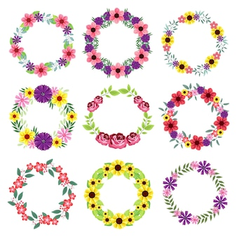 Set of floral wreath isolated on white background