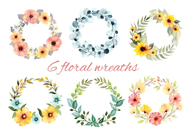 Set of floral wreath watercolor style  illustration