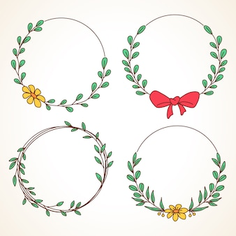 Set of floral wreath with leaves and berries round frame for wedding invitations and  greeting cards