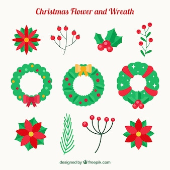 Set of floral wreaths and natural christmas elements