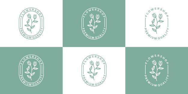 Установите винтажный шаблон дизайна логотипа флориста