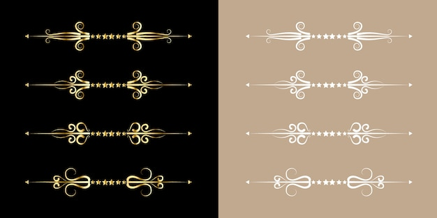 Set of flourish vintage style golden ornament gold border art elegant decor for title and text book line