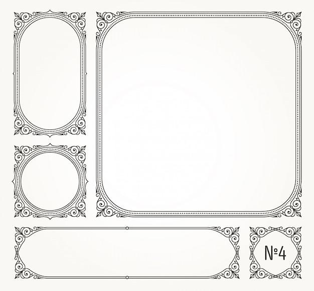 Set of flourishes calligraphic elegant ornamental frames and borders-  illustration.